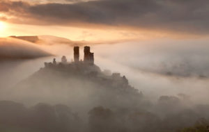 Corfe Castle surrounded by mist
