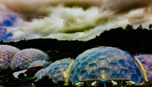 Eden Project domes underneath rolling clouds