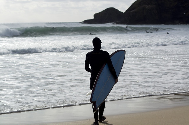 Surfer on Praa Sands Beach