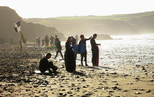 Surfers on the Beach at Widemouth Bay