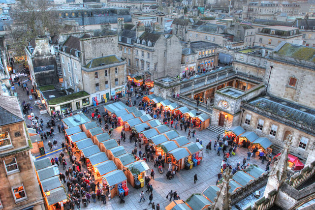 Aerial view of Bath Christmas market