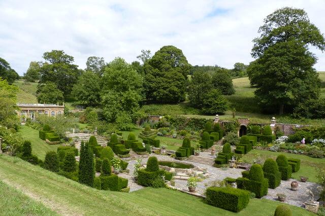 Mapperton House sunken gardens in Beaminster, Dorset.