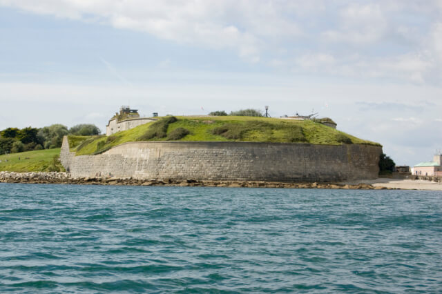 View from the sea of Nothe Fort in Weymouth, Dorset
