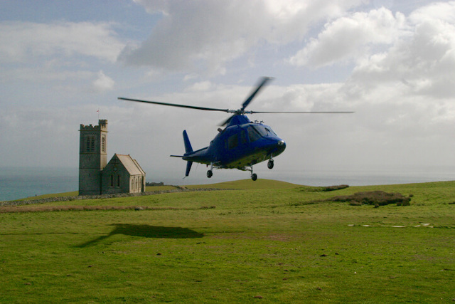 helicopter landing on lundy island