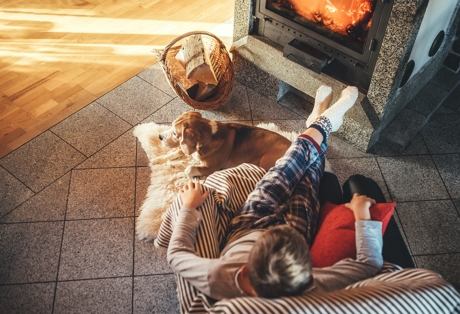 Boy sitting in comfortable armchair in cozy country house near fireplace and enjoying a warm atmosphere and flame moves. His beagle friend dog lying beside on the white sheepskin.