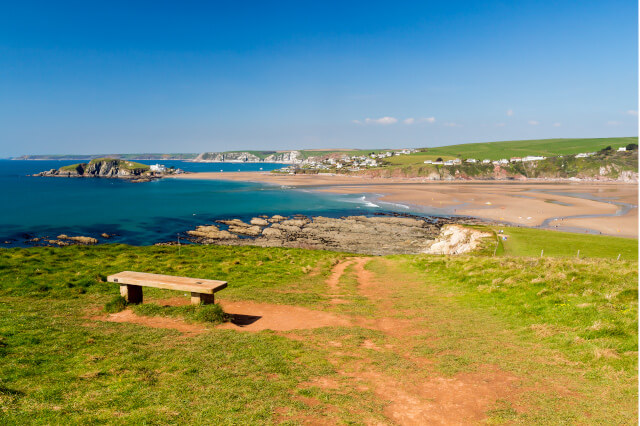 View of Bantham and Bigbury Island from South West Coast Path in South Devon